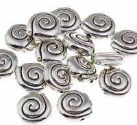25 SPIRALE Perlen Metall Spacer SCHEIBE Metallperlen ALT SILBER BASTELN 8mm F112