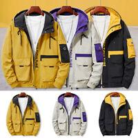 Men Hip Hop Hooded Coat Jackets Patchwork Streetwear Plus Size Casual Overcoat