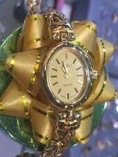 14K Solid Gold Vintage Geneve Fine Ladies Women's Quartz Wrist Watch  Byzantine