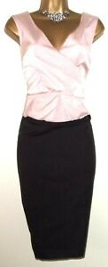 💝GORGEOUS PHASE EIGHT BLACK & PINK FITTED EVENING COCKTAIL WEDDING DRESS UK 14