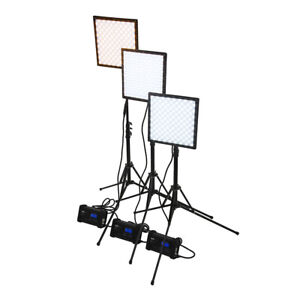SkyFiller 1x1 50w BiColor LED Light, 3x Lighting Kit with Stands and Case