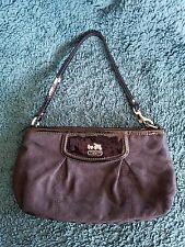 Coach Black OP Art Patent Leather Clutch Wristlet Handbag Purse Silver