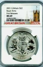 More details for 2021 1oz silver coin ngc ms69 royal arms first releases top grade.