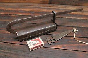 Vintage Antique Presse Folded Steel Padlock Lock Slide Indian? Key Estate