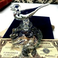 VINTAGE CLEAR CUT GLASS PERFUME BOTTLE WITH LARGE BIRD STOPPER