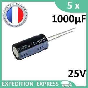 5 condensateurs électrolytique 1000µF 1000uF 25V radial WH 105°C THT chimique