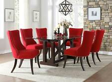 Transitional 7 pieces Dining Room Rectangular Glass Table & Red Chairs Set IC58