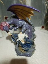 "Dragon Wizard with Staff Statue Figurine 10"" goblet Sword Purple robe Very Rare"