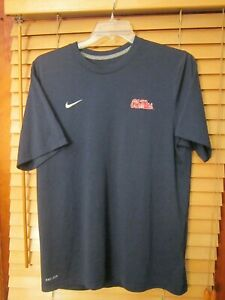 Nike Ole Miss Rebels University Mississippi Dri Fit Men's L Navy Blue Shirt EUC