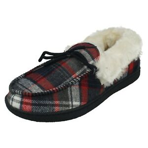 LADIES FUR LINED SLIP ON MOCCASIN HOUSE SLIPPERS WARM COMFORT CUSHION WALK MARY