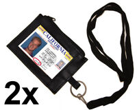 Set of 2 Leather ID CARD Badge Neck Holder Lanyard Wallet Zip Key Ring Strap