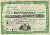 Pennsylvania Salt Manufacturing > 1899 Pennsylvania old stock certificate