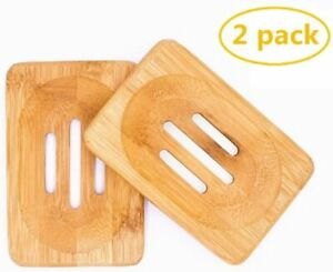 2 Packs Natural Wooden Bamboo Soap Dish Storage Holder Handmade Soap Holder