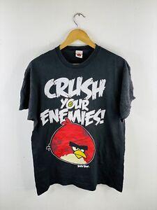Angry Birds Men's Vintage Short Sleeve T Shirt Size L Black Crush Your Enemies