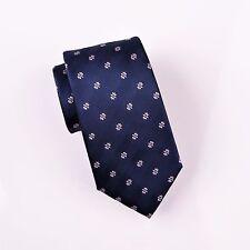 Blue Herringbone Twill Wide Woven Tie Pink Spade Emblem Formal Business Dress A+