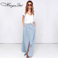 Plus Size Fashion Womens Casual Denim Jeans Long Maxi Skirts Dress New
