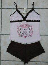 "NWT NEW La Senza- ""Me Time"" pink & brown short pyjamas- Size 14"