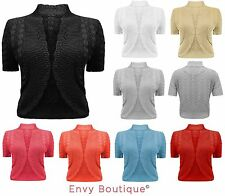 New Ladies Womens Knitted Bolero Shrug Crochet Knit Cardigan Plus Sizes 16-32