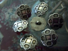 Metal No:107 PEWTER old BUTTONS SCALLOP EDGE 6pcs 13/16 20mm ITALIAN