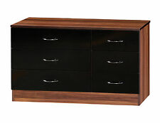Alpha Black Gloss & Walnut | Wide 3+3 Drawer Chest | Modern Furniture Unit