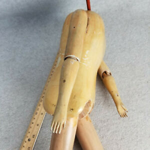 """19"""" unusual antique German or French Wooden Doll Body (no head) w jointed ankles"""