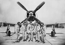 """Langley Test Pilots with P-47 Thunderbolt Fighter 13""""x 19"""" WWII Photo Poster 402"""