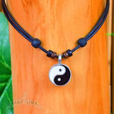 Lederkette Yin Yang Halskette Surferkette Halsband Buddha Budda Yoga Chi Energie
