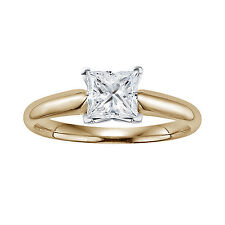 1 Carat Square Princess Solitaire Real 14k Yellow Gold Engagement Wedding Ring
