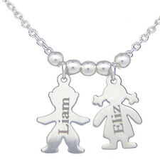 Children Kids Family Personalised Engraved Name Necklace Silver Plated Jewelry