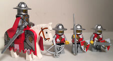 Lego Castle Lion Knights Minifig Lot - Red Silver Horse Barding 2490pb08