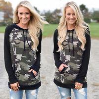 Camouflage Women Ladies Hoodie Sweatshirt Long Sleeve Hooded Pullover Tops New