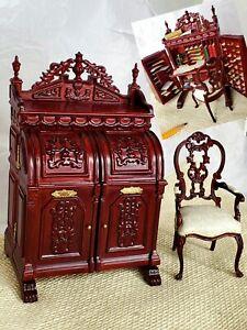 FILLED Wooton DESK & Bespaq Chair Secretary Miniature Furniture LOT Office 1:12