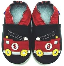 soft sole leather baby boy crawling shoes fire track black 6-12m US 3-4