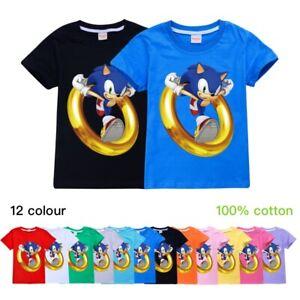 Kids Boys Girls Sonic The Hedgehog Printed Summer T-Shirt Tops Short Sleeve Tee