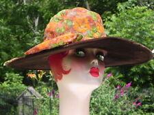 Vintage Crushed Velvet Wide Brim Hat Edwardian Style Brown Flower Usa
