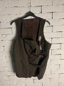 Buckle Waistcoat Brown Blue S ALEX CHRISTOPHER RRP £95 VIVIENNE WESTWOOD STYLE