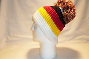 LUXURY BLACK RED YELLOW WHITE STRIPED BOBBLE HAT BEANIE FLEECE LINED MENS WOMENS
