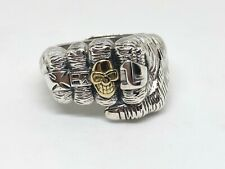 925 Sterling Silver Mens Sizeable Skull Maltese cross number 1 Knuckle Ring