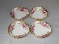 Royal Albert Autumn Roses Bone China Saucers ~ Set of 4