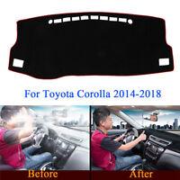 Car Dashboard Dash Mat Non-Slip Sun Cover Pad Black For Toyota Corolla 2014-2018