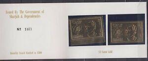 B465. Sharjah - MNH - Space - Gold - Imeprf+Perf - Booklet
