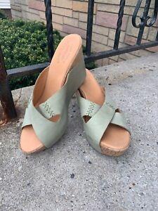 "KORK EASE Light Green ""Tracy"" sandal Wedges Mules Wrapped 10 US 42 EU Shoes"