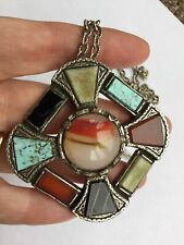 Vintage Miracle Pendant necklace, Scottish, Celtic cross, glass agates, signed