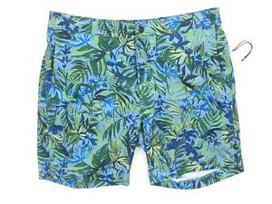 NEW $195 ONIA WASHED DENIM PAINTERLY TROPICS 7.5'' INSEAM CALDER TRUNKS SIZE L
