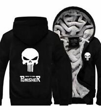 Unisex Men Woman Punisher Skull Winter Fleece Thicken Jacket Coat Zipper Hoodie