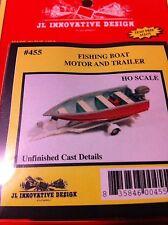 JL Innovative 455 HO Scale Fishing Boat, Motor & Trailer Cast Metal KIT Form