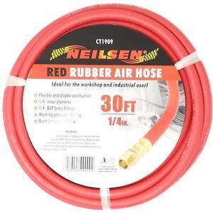 "Neilsen Rubber Air Hose Line 30ft For Air Compressor 1/4"" BSP 6mm Bore 300 psi"