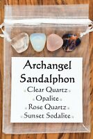 Archangel Sandalphon Crystal Gift Set Clear Rose Quartz Opalite Sunset Sodalite