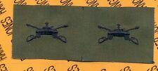 US Army ARMOR Branch OD Green & Black Tank sew on patch set