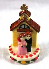 "Unusual 3"" Ceramic Cake Topper or Decor Couple in Front of Church"
